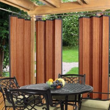 Easy Glide All Natural Bamboo Ring Top Window Curtain Panel in Cedar