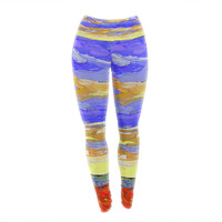 "Jeff Ferst ""After the Storm"" Blue Yellow Yoga Leggings"