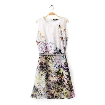 Autumn Hollow Out Backless Print Sleeveless Skirt One Piece Dress [4917816708]