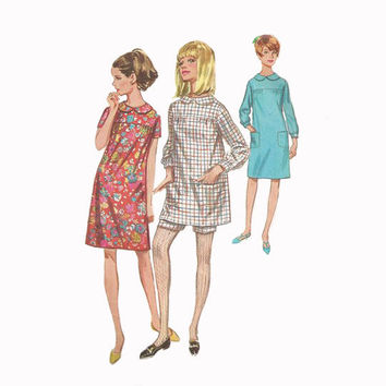 1960s Cute Empire Dress or Tunic with Shorts Simplicity 7163 Bust 31.5 Vintage Sewing Pattern