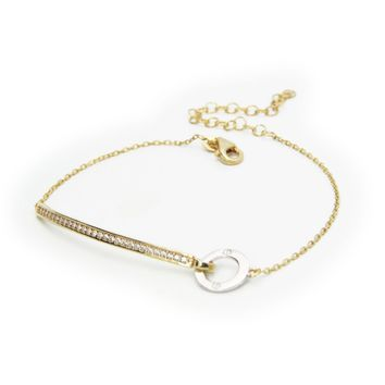 """Sterling Gold Plated Silver 6.5""""+2"""" Cz Bar Thin Bracelet with Circle"""