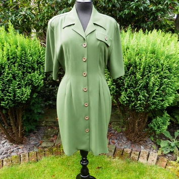 Dress 1980s Vintage Dress from Wallis Green fitted Shirt Dress Padded Shoulders uk Size 12