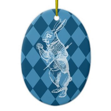 White Rabbit Wonderland Blue Christmas Ornament