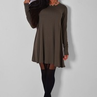Aureus Khaki Green Long Sleeved Swing Dress | Pink Boutique