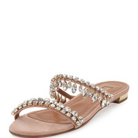 Aquazzura Eden Crystal-Embellished Slide Sandal, Light Pink