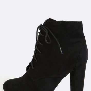 Chunky Heel Faux Suede Boots BLACK | MakeMeChic.COM