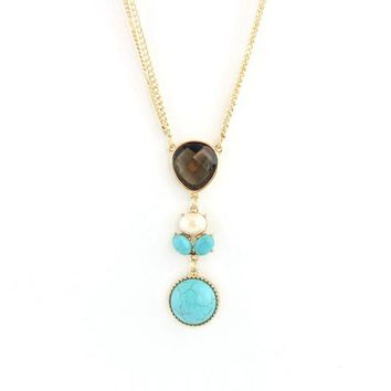 Sexy Turquoise Pendants Necklace Vintage Jewelry Elegant Long Gold Plated