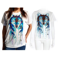 Summer Blue Wolf Printed Top T-Shirt a12331