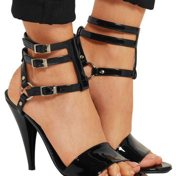 Saint Laurent Patent-leather sandals – 65% at THE OUTNET.COM