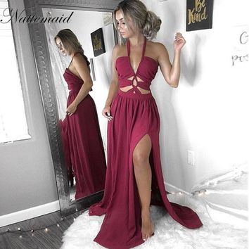 Women Halter Maxi Dress Women Sleeveless Summer Holiday Long Beach Hollow Out Prom Party Dresses