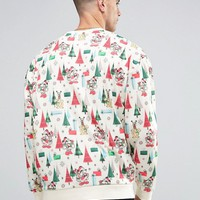 ASOS Holidays Oversized Sweatshirt With All Over Mickey Print at asos.com