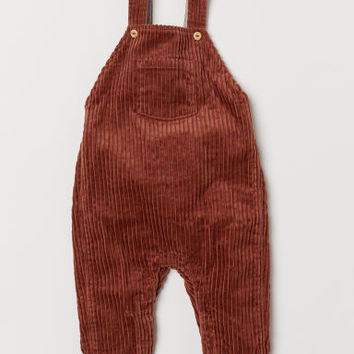 Corduroy Bib Overalls - Brown - | H&M US
