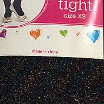 Justice Girl's Black Metallic Sparkle Footed Tights NWT Retail $22.90