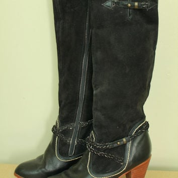 70s -  Black Leather & Suede - Strappy - Braided Boot Strap - Stitched - Wood Stack High Heel - Hi - Tall - Zip Up - Boots - 8.5