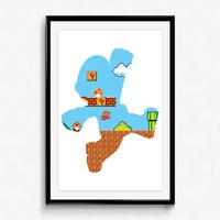 Super Mario Bros - 8 Bit Mario - video game print, wall art, nintendo, pixel, 8 bit art