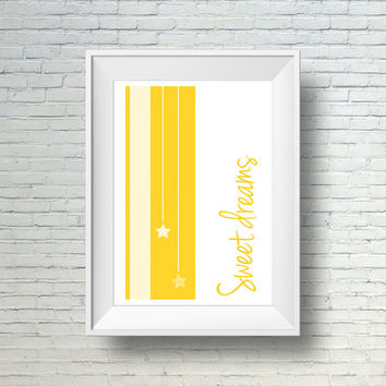 Sweet Dreams Nursery Print, Nursery Wall Art, Yellow and White Sweet Dreams Print, Kids Room Wall Decor