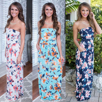 Print Strapless Backless Sleeveless Colorful Long Dress