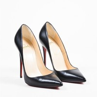 PEAP Christian Louboutin Black Leather Pointed Toe   So Kate 120   Pumps