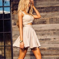 Two Pieces Champagne Short Homecoming Dress
