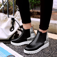vintage street style Chelsea height increasing slip on boots