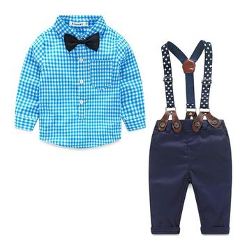 Plaid Button Up with Bow-tie and Matching Pants with Suspenders