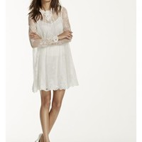 Lace Short Dress with Illusion Long Sleeves - Davids Bridal