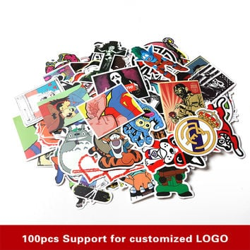 100pcs/set Mixed Random Stickers Stickers For Skateboard Laptop Luggage Guitar Travel Case sticker Car Kids DIY Toys