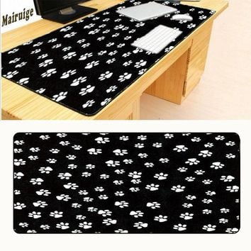 Mairuige Black and White Paw Prints Mouse Pad Pad Overlock Edge Big Gaming Mouse Pad Send Boy Friend The Best Gift  30x60cm