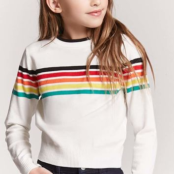 Girls Stripe Sweater-Knit Top (Kids)