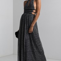 AKIRA Plunging Halter Neck Open Side Tie Up Glitter Maxi Dress in Silver, Gold