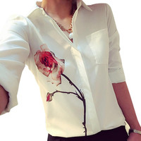 Women's White long Sleeve Rose Printed Blouse