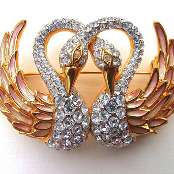 NOLAN MILLER Swans Rhinestone Brooch, Gold Plated, Enamel, Glamour Collection, Vintage
