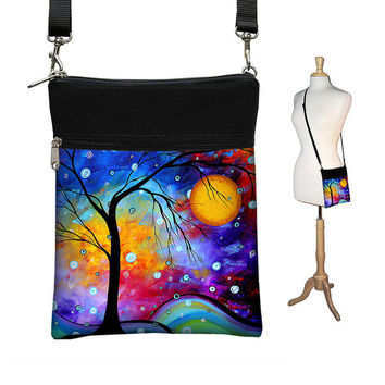 New! Small Crossbody Hipster Bag in MADART Winter Sparkle, Cross Body Shoulder Bag,  eReader Case Cover, blue yellow aqua purple (RTS)
