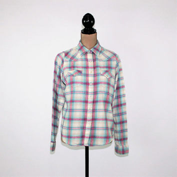 Womens Western Shirt Snaps Pastel Plaid Cotton Flannel Wrangler Medium Large Long Sleeve Shirt Vintage Clothing Womens Clothing