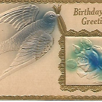 1911  Beautiful Blue Bird Birthday Greeting Antique Embossed Postcard Airbrushed