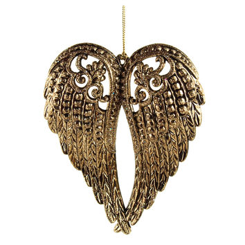Metallic Angel Wing Christmas Ornament, Gold, 5-Inch