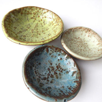 Lace prep bowls - cottage decor- jewelry dishes- sauce bowls - Blue and green- set