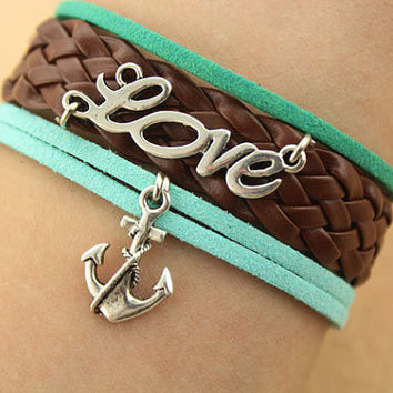 love bracelet-- anchor bracelet,silver charm bracelet,tea&green cord,brown braid leather bracelet,MORE COLORS