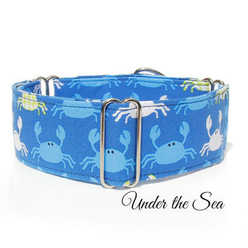 "Nautical Crabs Blue dog collar, beach martingale dog collar, 2"" wide cute italian greyhound collar, whippet collar,1inch summer collar"