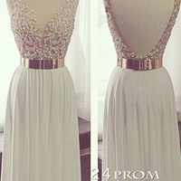 White A-line Backless Long Lace Prom Dresses, Formal Dress