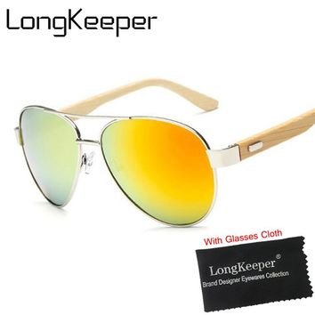 LongKeeper Natural Bamboo Sunglasses Men Designer Oversized Mirror UV400 Wooden Pilot Sun Glasses Goggles lunette gafas