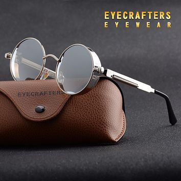Silver Metal Polarized Sunglasses Gothic Steampunk Sunglasses Mens Womens Fashion Retro Vintage Shield Eyewear Shades 372