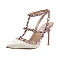 Kaitlyn Pan Pointed Toe Studded Slingback High Heel Leather Pumps