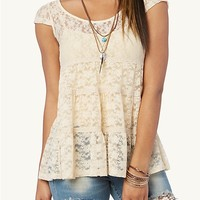 Button Back Lace Babydoll Top