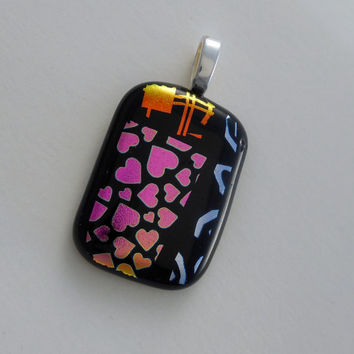 Non-Traditional Valentine's Pendant with Hearts, Fused Glass Dichroic Sampler Necklace, Choker Slide