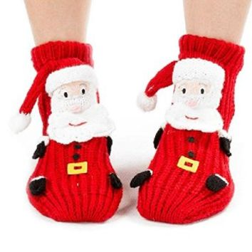 Sunjazz Kids' 3d Christmas Santa Knit Slipper Socks with Non-skid Soles