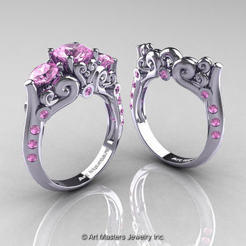 Art Masters 10K White Gold Three Stone Light Pink Sapphire Modern Antique Wedding Ring Set R515S-14KWGLPS