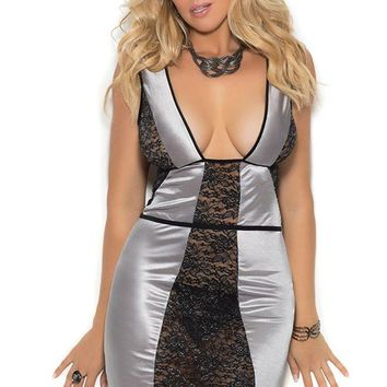 Silver Lining Peek-a-Boo Chemise in 1X