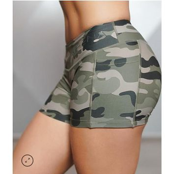 Women's Camouflage Compression Shorts Casual Women Bottoms Shorts Girls Shortstight Female Bodybuilding GYMshorts