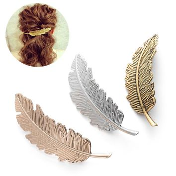 New Style Vintage Simple Gold Silver Leaves Feather Hair Clip Hairpin Barrette Spring Clip Hair Jewelry Women Tiara Accessories